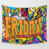 friday Wall Tapestries featuring Friday by Roberlan Borges