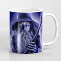 gandalf Mugs featuring Gandalf in Blue by Falln