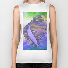 NAUTILUS CONCH SEA SHELL PURPLE IMPRESSIONS Biker Tank