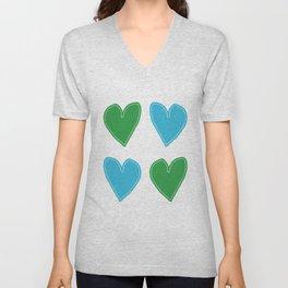 Blue and Green Hearts - 4 hearts Unisex V-Neck