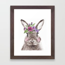 Bunny with flowers Framed Art Print