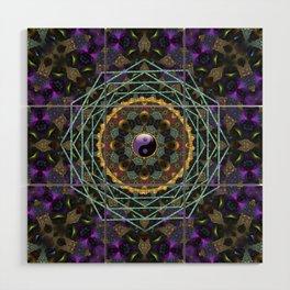 Purple Yin Yang Sacred Geometry Fractals Wood Wall Art
