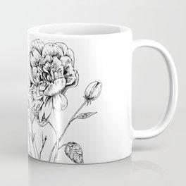 Peony Ink Drawing Coffee Mug