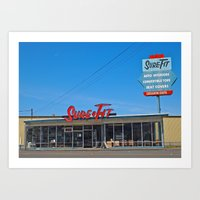 mid century Art Prints featuring Mid-Century building by Vorona Photography