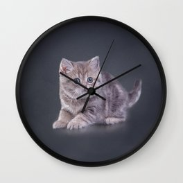 Drawing funny kitten Wall Clock