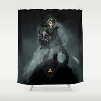 the legend of zelda Shower Curtains featuring Legend Of Zelda - Skyward Sword by Thorin