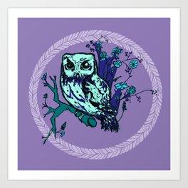 Owl in Bloom Art Print