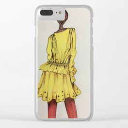 Bold in Yellow (Zoomed) Clear iPhone Case