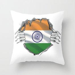 India Chest Burst Flag Indian Pride Throw Pillow