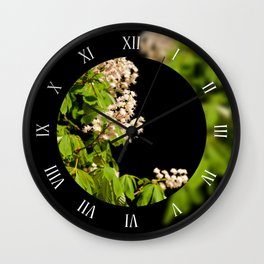 blooming Aesculus trees on black Wall Clock