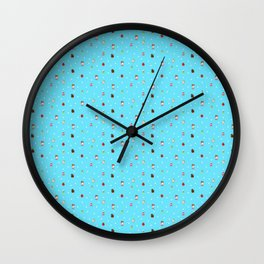 Sad Food by Squibble Design - Repeating Pattern on blue polka dot background Wall Clock