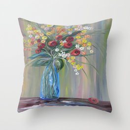 Flowers in a Blue Vase Soft Focus Throw Pillow