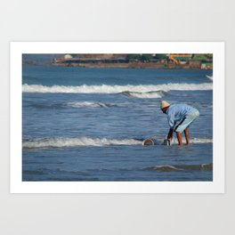 Cleaning Buckets in the Sea Arambol Art Print