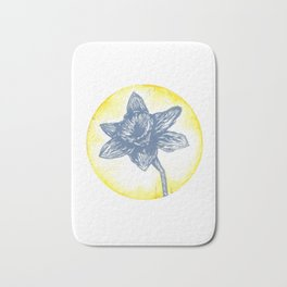 Daffodil Birth Flower - March - Blue Bath Mat