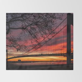 Sunrise at the Bridge Throw Blanket