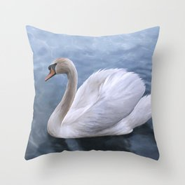 Drawing swan on blue lake water Throw Pillow
