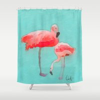 flamingos Shower Curtains featuring Flamingos  by Xchange Art Studio