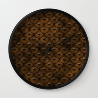 leather Wall Clocks featuring Leather Armor by SShaw Photographic