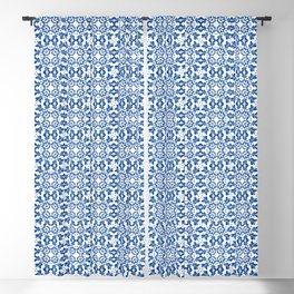 White Blue Marrakesh Tails Decoration Classic Bath Art Tails Talavera Catalina Royal Blue and White Blackout Curtain