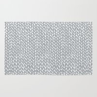 Hand Knit Light Grey Rug