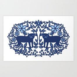 Scandinavian Cat blue Art Print