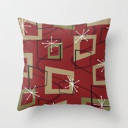 Mid Century Modern Maroon Throw Pillow