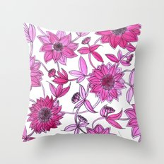 small pink flowers Throw Pillow