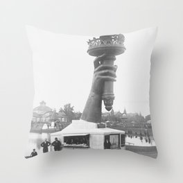 Statue Of Liberty, 1876, right arm with torch on display Liberty Island black and white photograph Throw Pillow