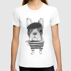 French Bulldog. (black and white version) Womens Fitted Tee MEDIUM White