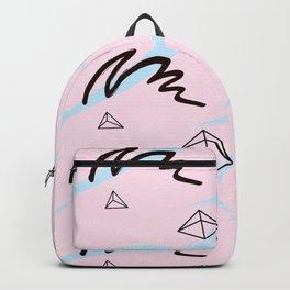 Brush pink blue pattern Backpack