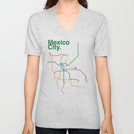 Mexico City Transit Map Unisex V-Neck