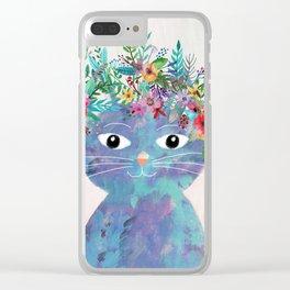 Flower cat II Clear iPhone Case