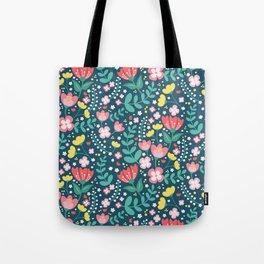 Flower Lovers - Dark Blue Tote Bag