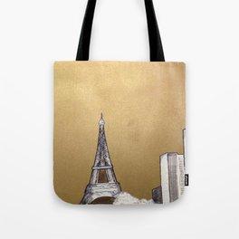 Gold Eiffel Tote Bag
