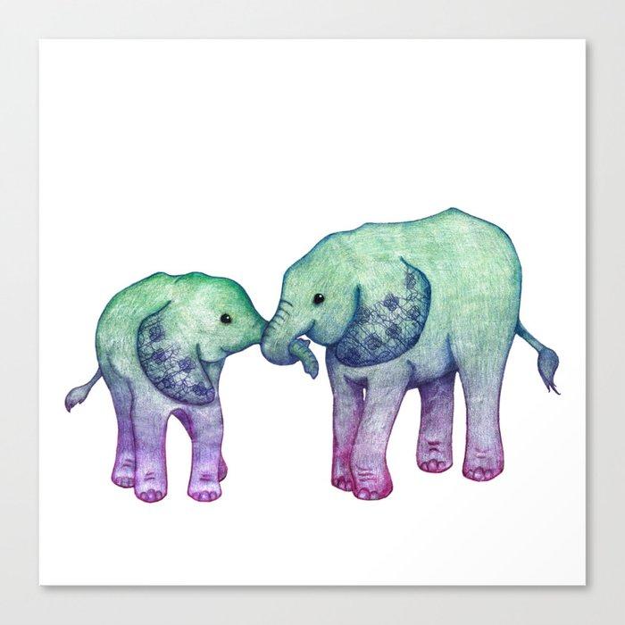Baby Elephant Love - ombre mint & purple Canvas Print