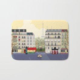 Paris Street Scene Art Print - Dawn Bath Mat
