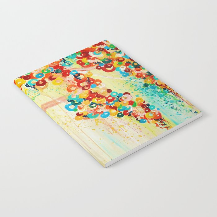SUMMER IN BLOOM - Beautiful Abstract Acrylic Painting Vibrant Rainbow Floral Nature Theme  Notebook