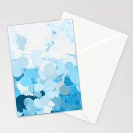Blue watercolor abstract splatter Stationery Cards