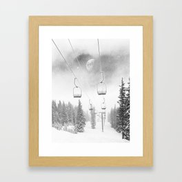 Chairlift Moon Break // Riding the Mountain at Copper Colorado Luna Sky Peeking Foggy Clouds Framed Art Print