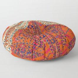 Orange Wildflower Sunshine III // 18th Century Colorful Rusty Red Bright Blue Metallic Happy Pattern Floor Pillow