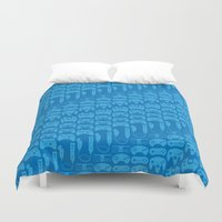 video game Duvet Covers featuring Video Game Controllers - Blue by C.Rhodes Design