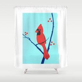 Cardinal Winter Berries Shower Curtain