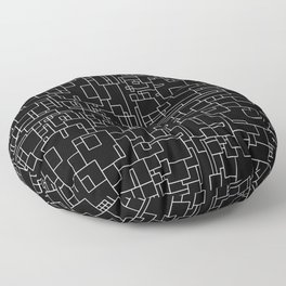 Circuitry - Abstract, geometric, black and white Floor Pillow