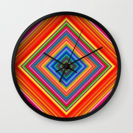 Rainbow Abstract Psychedelic Neon Dawn Triangle Design - Pink and  Orange Wall Clock