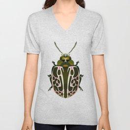 Green, White, Pink Beetle Unisex V-Neck
