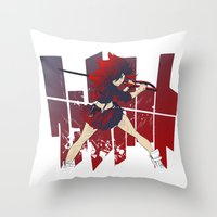 kill la kill Throw Pillows featuring Kill La Kill FANART by tsuzuku