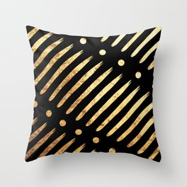 Dots & Dashes on Black Throw Pillow