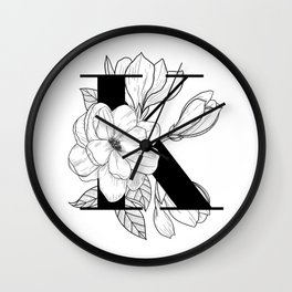 Monogram Letter K with Magnolia Line Art  Wall Clock