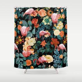 Floral and Flemingo II Pattern Shower Curtain