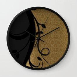 Swirly Black and Gold Damask Pattern Wall Clock